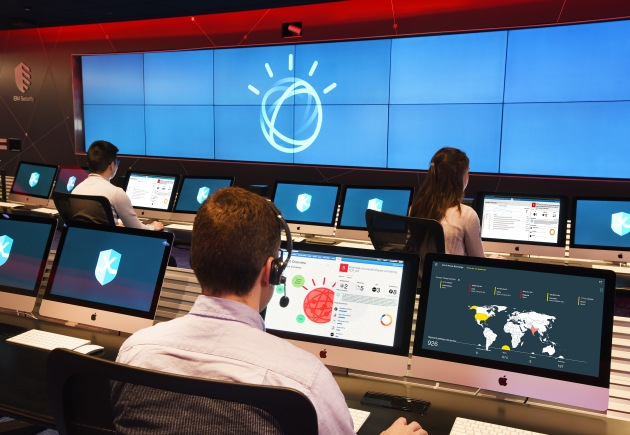 """Security analysts at IBM X-Force Command Centers are using Watson to augment their investigations into cybersecurity incidents. The company debuted Watson for Cyber Security, built on a corpus of over 1 million security documents. IBM analyst are also experimenting with a new virtual assistant which uses voice response technology."""" (John Mottern/Feature Photo Service for IBM)"""